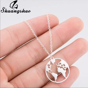 Brand New Silver World Pendant Necklace